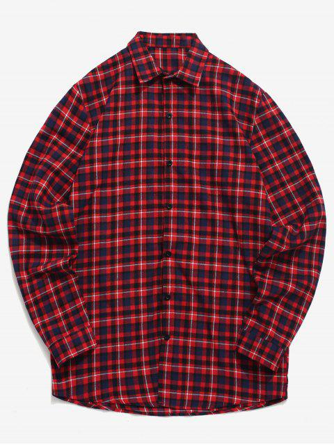 unique Tartan Print Button Up Shirt - RED XL Mobile
