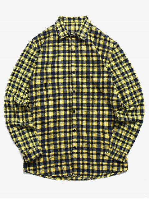 women Tartan Print Button Up Shirt - GOLDENROD 2XL Mobile