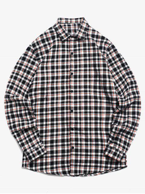 best Tartan Print Button Up Shirt - WHITE 2XL Mobile