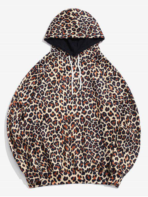 trendy All Over Leopard Print Pouch Pocket Hoodie - LEOPARD 3XL Mobile