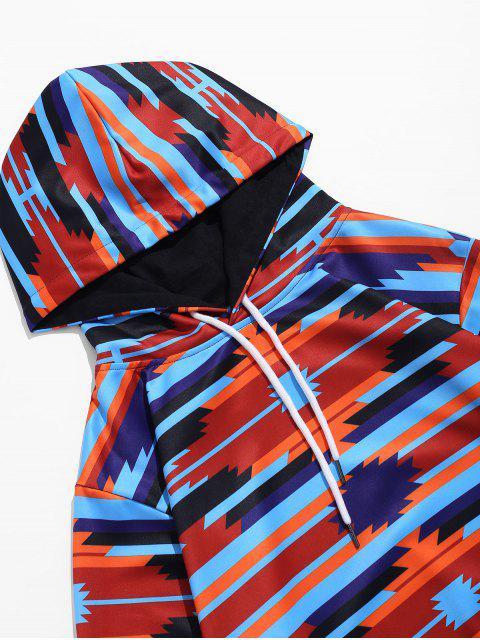 Sweat à Capuche Géométrique Contrasté Imprimé avec Poche - Bleu profond 3XL Mobile
