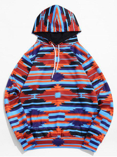 sale Contrast Geometric Print Pocket Pullover Hoodie - DEEP BLUE 3XL Mobile