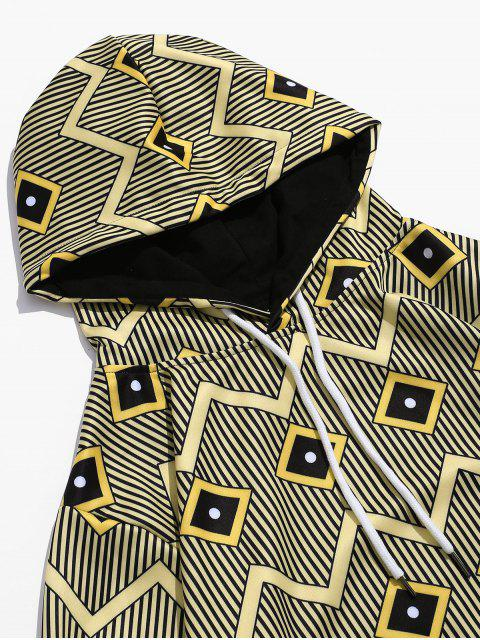 Sweat à Capuche Rayé Géométrique Imprimé avec Poche Jointive - Verge d'Or 3XL Mobile