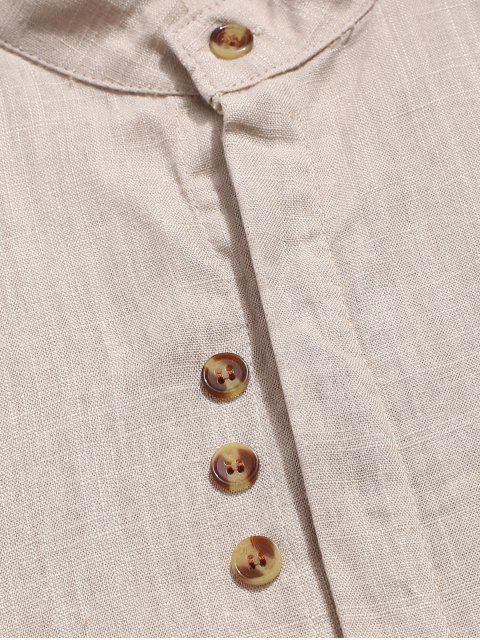 Chemise Décontractée Manches Roulées à Col Montant - Kaki XL Mobile