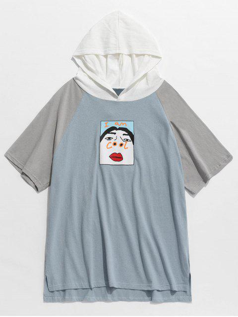 fancy Funny Graphic Colorblock Short Sleeve Hoodie - BABY BLUE L Mobile