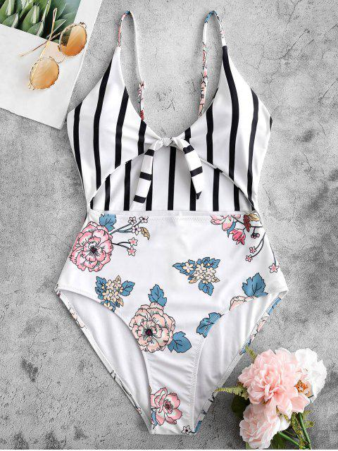 lady ZAFUL Floral Striped Knot High Cut Swimsuit - MULTI S Mobile