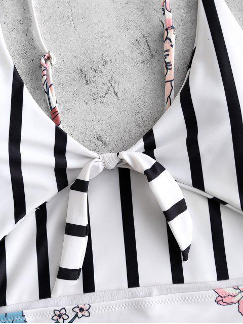 Traje de baño de corte alto con nudo de rayas de ZAFUL - Multicolor L Mobile
