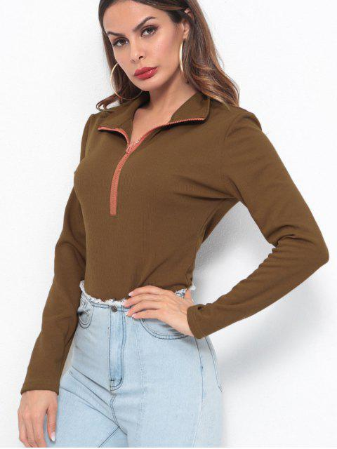 fashion Half Zip Ribbed Long Sleeve Top - COFFEE M Mobile