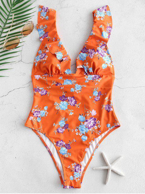 fashion ZAFUL Flower Ruffle Lace Up Swimsuit - MULTI-A XL Mobile