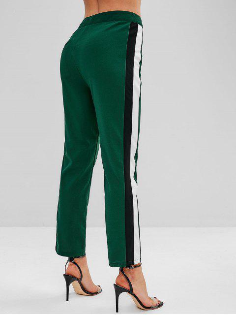 Pantalones rectos de panel de talle alto con rayas ZAFUL - Bosque Verde Mediana S Mobile