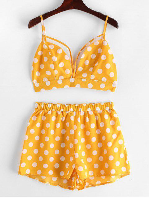 hot ZAFUL Backless Polka Dot Top and Shorts Set - BEE YELLOW M Mobile
