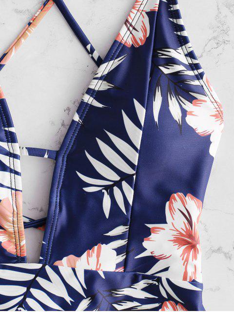 Bañador ZAFUL con estampado floral de criss cross - Azul Oscuro de Denim M Mobile