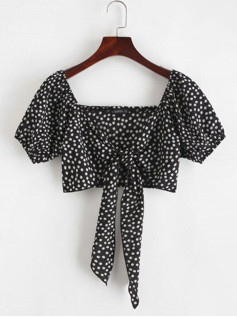 outfit ZAFUL Tie Front Tiny Floral Crop Blouse - BLACK M Mobile