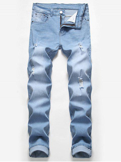 best Casual Zipper Fly Ripped Jeans - LIGHT BLUE 40 Mobile