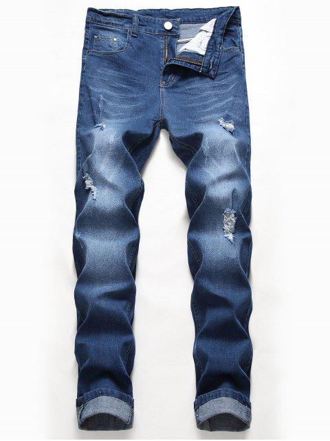 outfits Casual Zipper Fly Ripped Jeans - BLUE IVY 40 Mobile