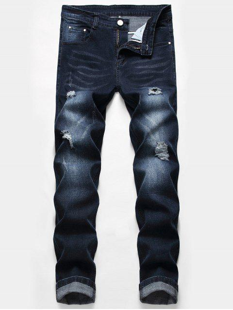 fashion Casual Zipper Fly Ripped Jeans - DEEP BLUE 40 Mobile