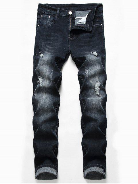 chic Casual Zipper Fly Ripped Jeans - BLACK 32 Mobile