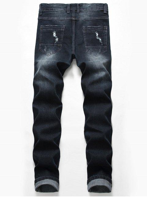 sale Casual Zipper Fly Ripped Jeans - BLACK 38 Mobile