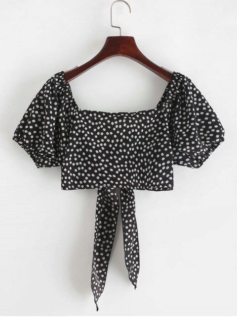 ZAFUL Blusa Corta de Flores Minúsculos con Lazo Frontal - Negro S Mobile