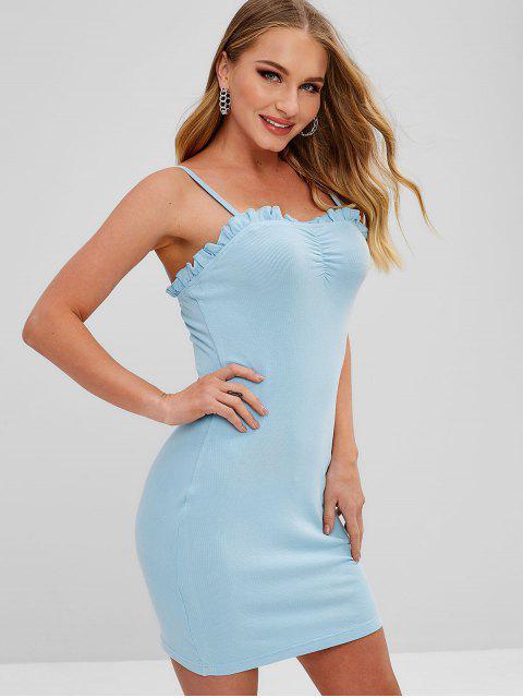 ZAFUL Robe Moulante à Bretelle à Volants - Bleu Léger  L Mobile