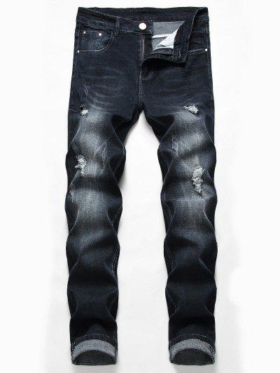 Casual Zipper Fly Ripped Jeans - Black 34