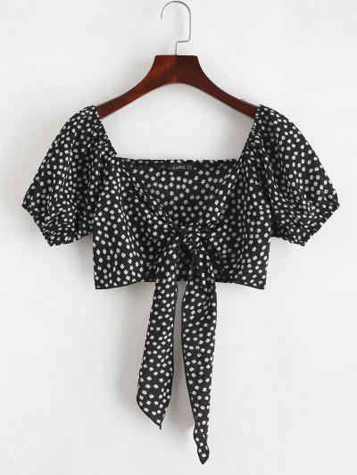 ZAFUL Tie Front Tiny Floral Crop Blouse - Black L