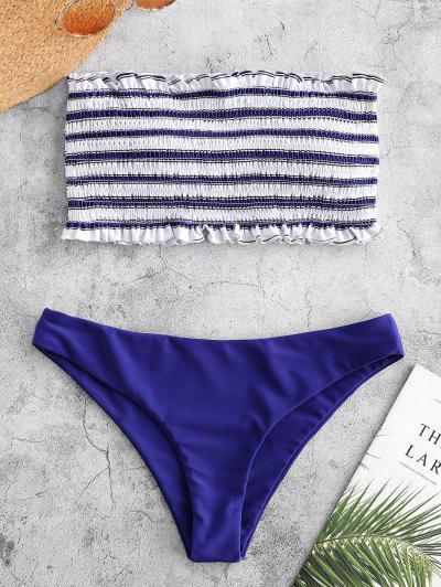 fcf10715a16 ZAFUL Stripe Smocked Bandeau Bikini Set - Cobalt Blue S ...