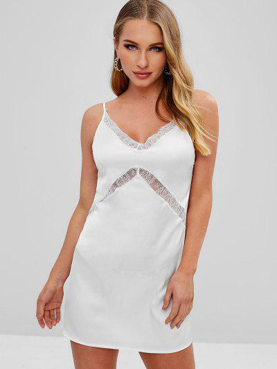 Lace Panel Satin Cami Dress - White S