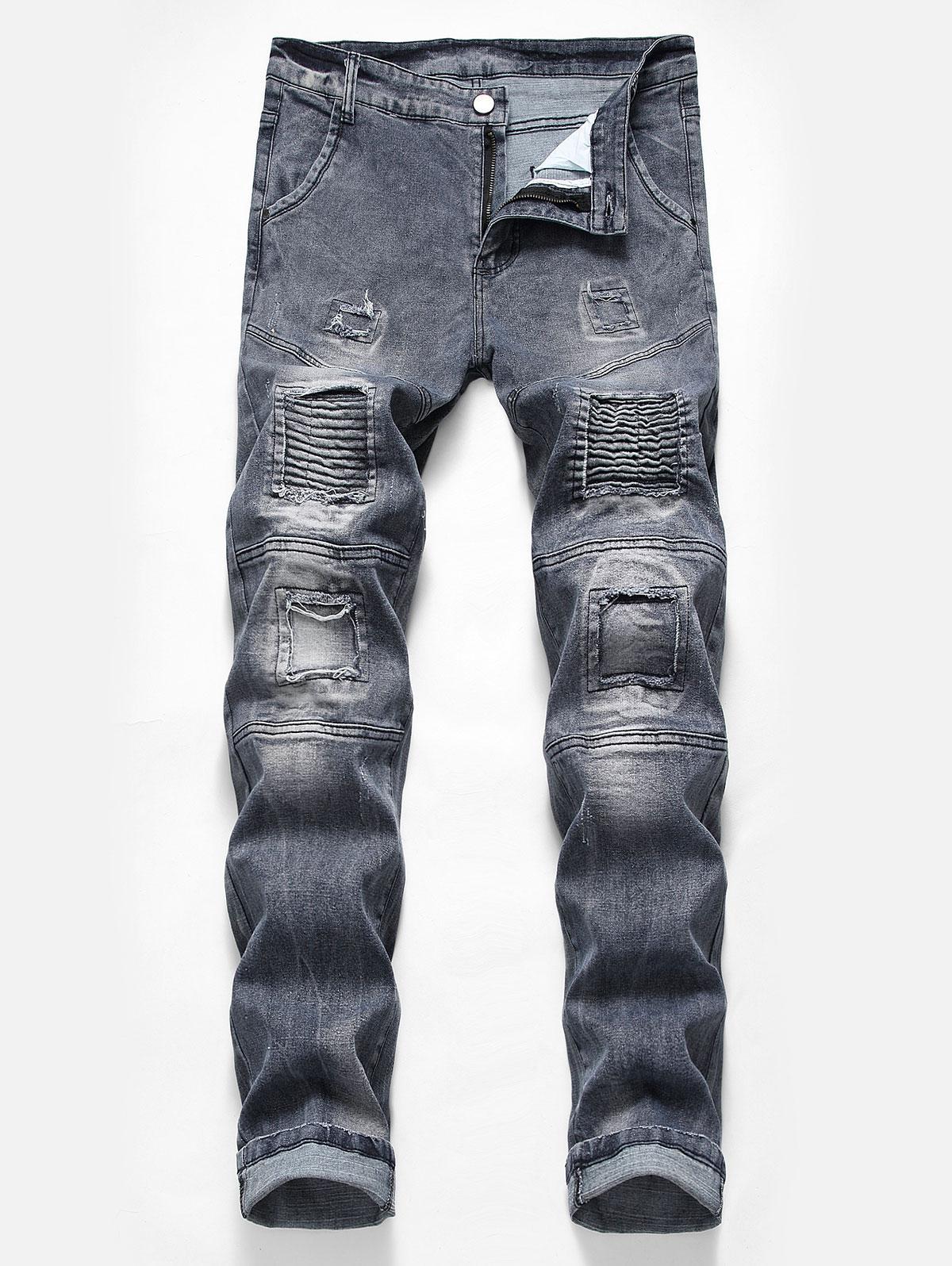 Pieghe Patchwork Biker Jeans