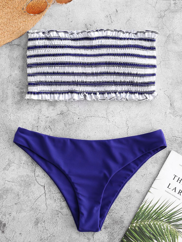 ZAFUL Stripe Smocked Bandeau Bikini Set, Cobalt blue