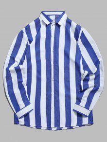 قميص عمودي مخطط بلون مغاير - طالبا الأزرق 2xl