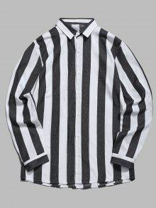 قميص عمودي مخطط بلون مغاير - أسود 2xl
