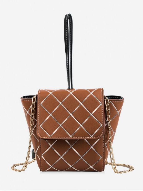 chic Chain Embroidery Argyle Crossbody Hand Bag - LIGHT BROWN