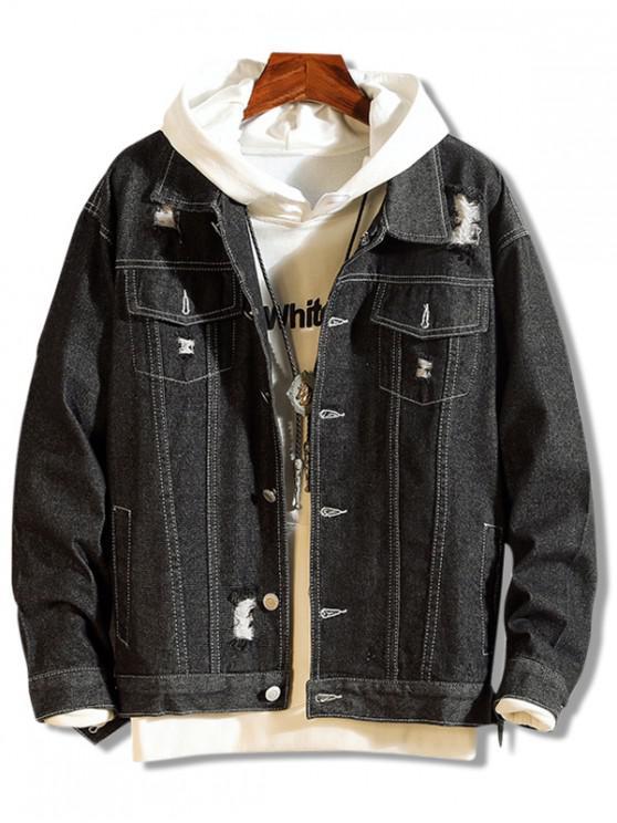 women's Distressed Trucker Denim Jacket - GRAPHITE BLACK XS
