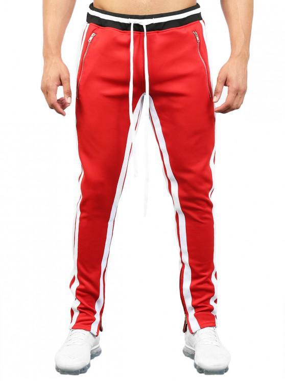 affordable Contrast Stripe Hem Zipper Track Pants - RED 3XL