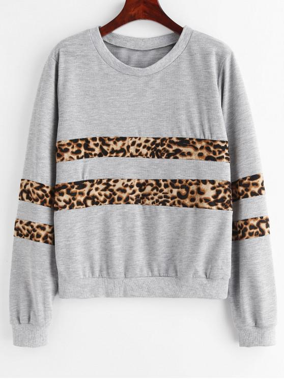 outfit Leopard Paneled Sweatshirt - GRAY CLOUD S
