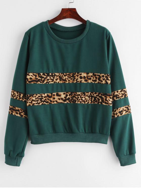 Sweatshirt mit Leopardenmuster - Mittleres Meer Grün S