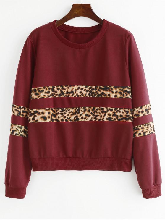 online Leopard Paneled Sweatshirt - RED WINE M