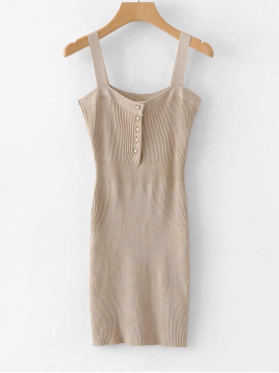 fashion Half Button Plain Ribbed Dress - CAMEL BROWN ONE SIZE