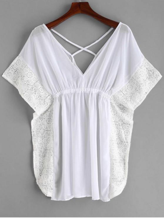 unique Lace Trim Crisscross Kaftan Dress - WHITE S