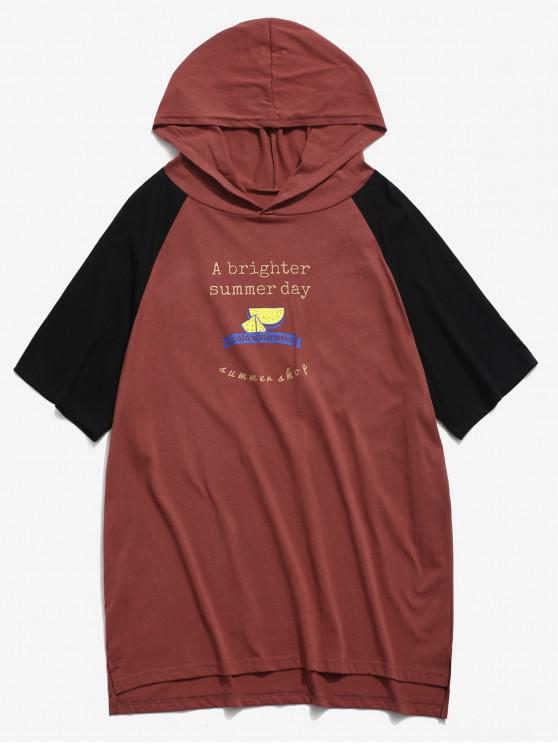 best Contrast Watermelon Graphic Short Sleeve Hooded Tee - RED WINE 2XL
