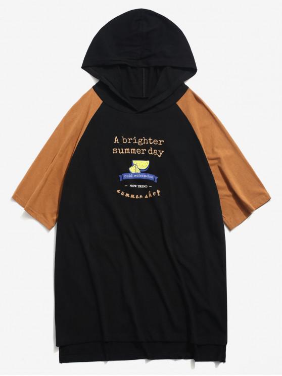 Camiseta con capucha de manga corta con gráfico en contraste de sandía - Negro M