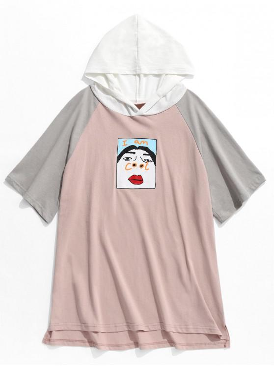 trendy Funny Graphic Colorblock Short Sleeve Hooded Tee - PINK 2XL