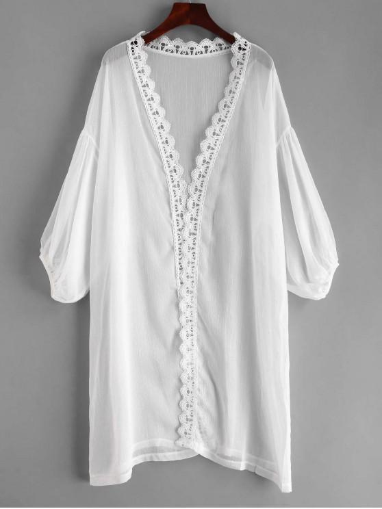 sale Laced Sheer Kimono - WHITE ONE SIZE