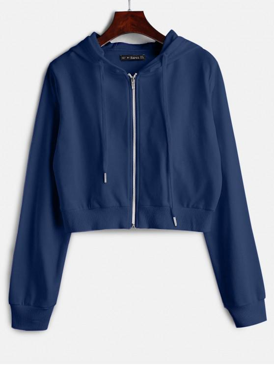 best ZAFUL Drawstring Zip Up Cropped Hoodie - MIDNIGHT BLUE L
