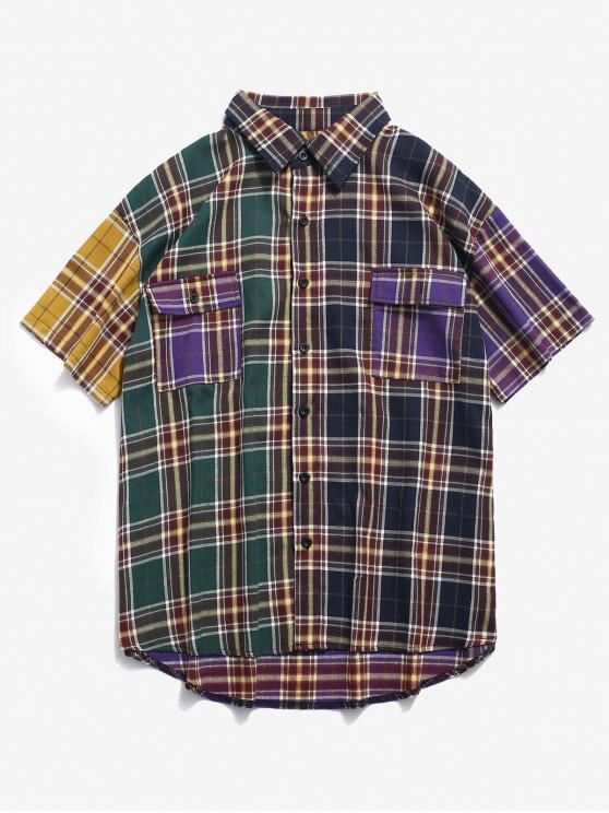 trendy ZAFUL Contrast Flap Pockets Plaid Shirt - PURPLE IRIS M