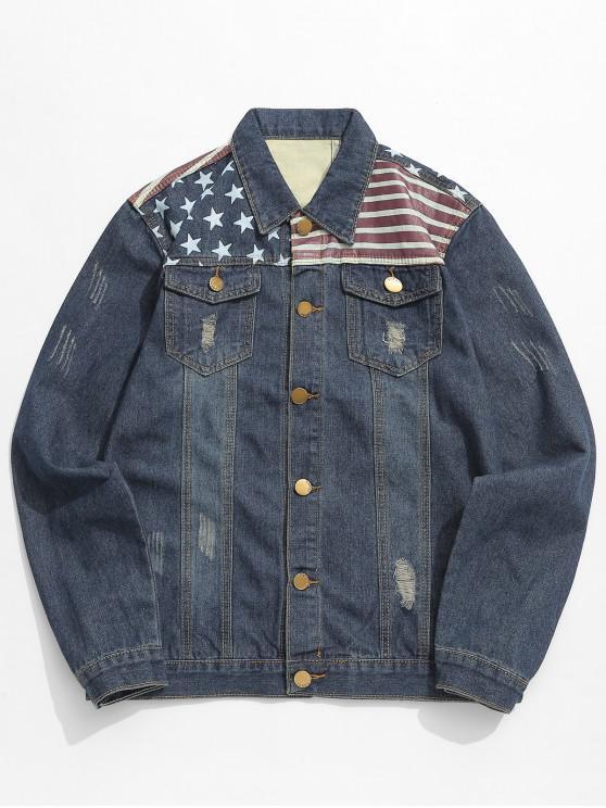 ladies Distressed Stars and Striped Pattern Denim Jacket - DENIM DARK BLUE XS