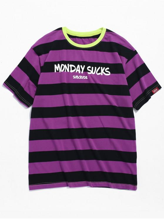 Camiseta Contraste Rayas Estampada - Púrpura 2XL