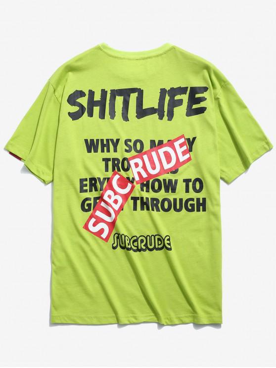T-shirt con stampa a contrasto - Verde Tè XL