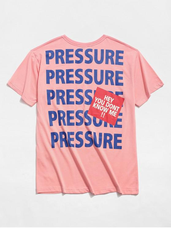 T-shirt stampata lettere casuali - Rosa 2XL
